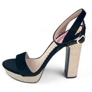 Betsey Johnson Mattie Glitter Platform Heels 5.5